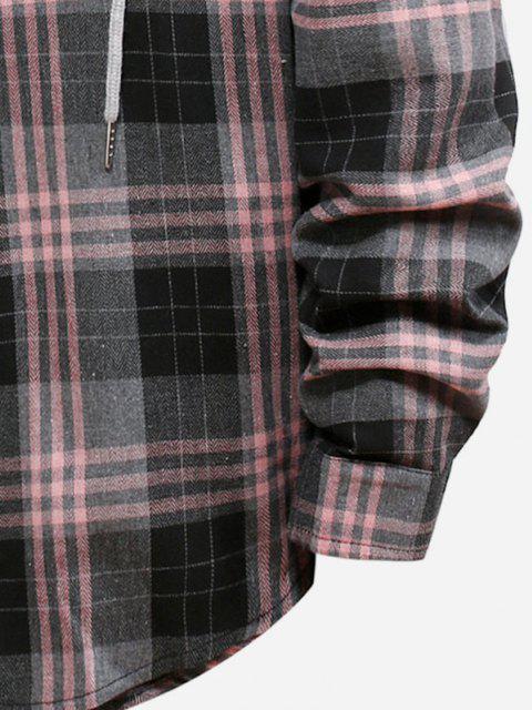 womens Plaid Pattern Color Blocking Hooded Shirt - SMOKEY GRAY XL Mobile