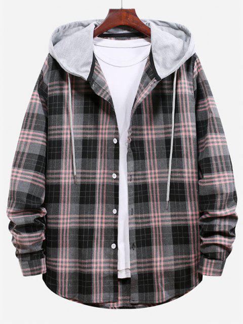Plaid Pattern Color Blocking Hooded Shirt - سموكي جراي M Mobile