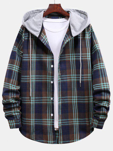 trendy Plaid Pattern Color Blocking Hooded Shirt - CADETBLUE L Mobile