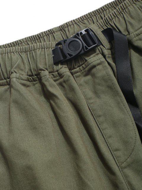 Einfarbige Klappen Tasche Cargo Hose - Grün 2XL Mobile
