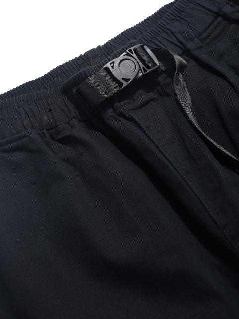 Einfarbige Klappen Tasche Cargo Hose - Schwarz XL Mobile