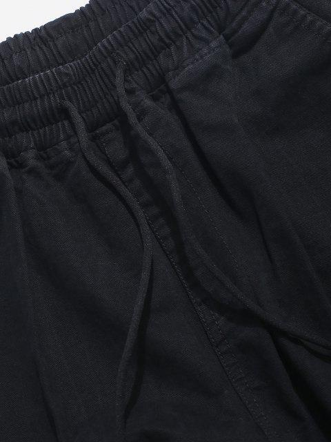Pantalones de Carga Casual con Cordón y Estampado de Letras - Negro XS Mobile