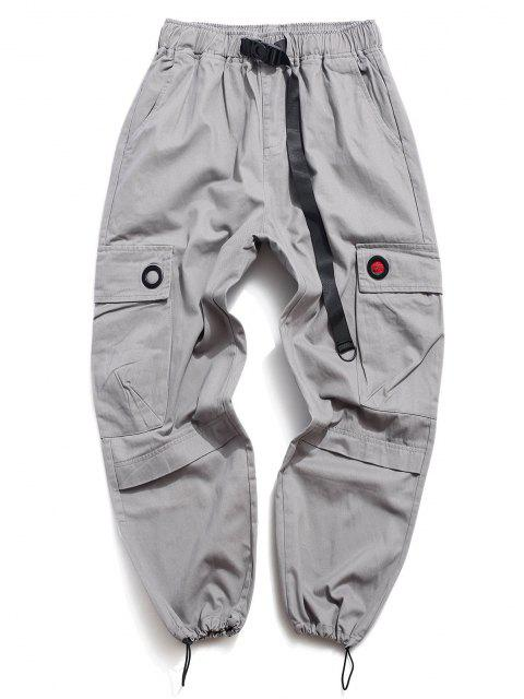 buy Solid Buckle Flap Pocket Cargo Pants - GRAY 2XL Mobile