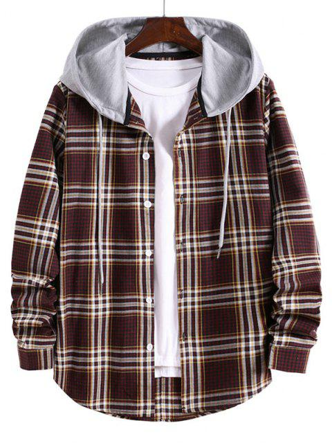 best Striped and Plaid Pattern Long Sleeve Hooded Shirt - RED WINE S Mobile