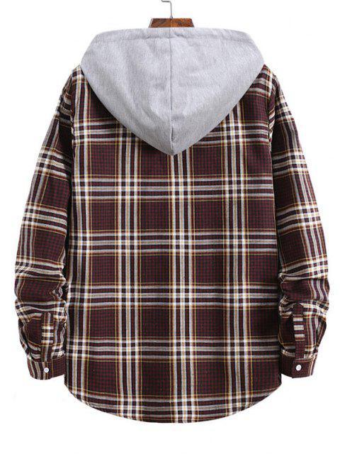 Camisa con Capucha de Manga Larga a Rayas y Cuadros - Vino Tinto 2XL Mobile