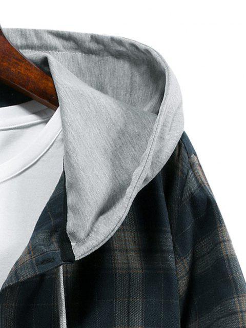unique Plaid Print Hooded Drawstring Shirt - CADETBLUE S Mobile