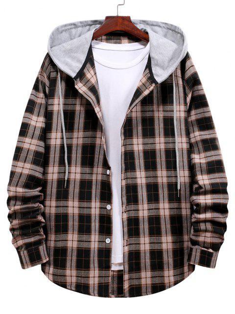 shop Plaid Print Hooded Drawstring Shirt - BLACK L Mobile