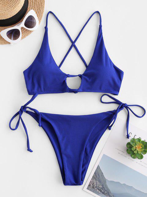ZAFUL Gerippter Schlüsselloch Bikini Badebekleidung mit Seitlichem Bindeband - Blau S Mobile