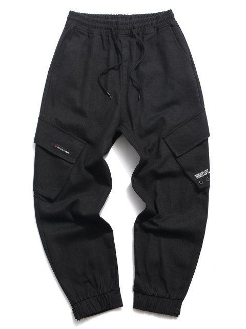 Pantalones Casuales de Estampado de Letras con Cordón - Negro XS Mobile