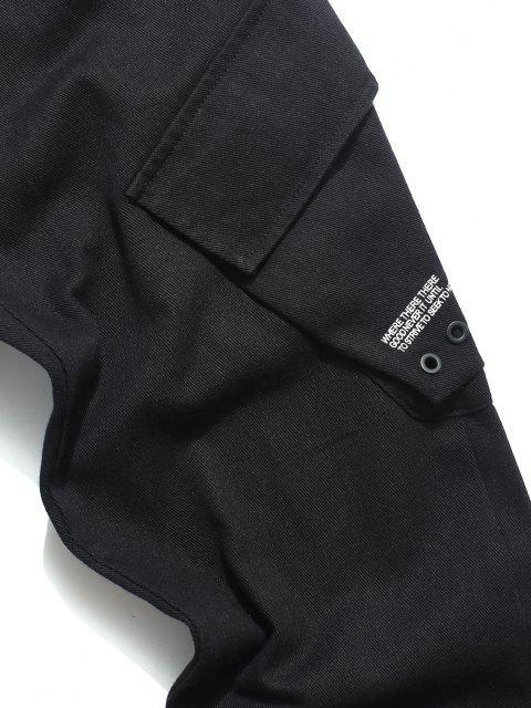 Pantalones Casuales de Estampado de Letras con Cordón - Negro M Mobile