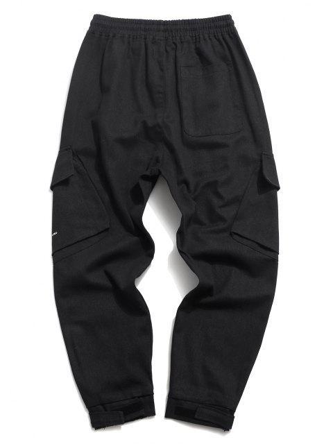 Pantalones Casuales de Estampado de Letras con Cordón - Negro L Mobile