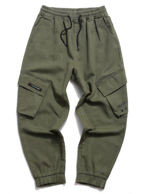 Pantalones Casuales de Estampado de Letras con Cordón - Ejercito Verde XS Mobile