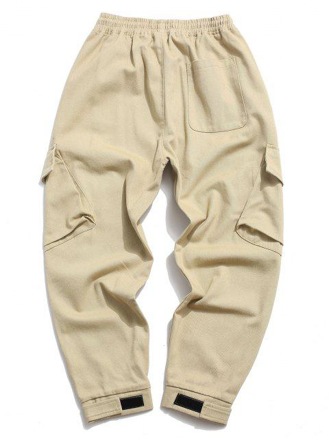 chic Letter Print Applique Drawstring Casual Pants - KHAKI XS Mobile