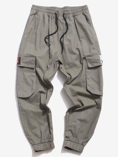 shop Flap Pocket Applique Solid Cargo Pants - GRAY XS Mobile