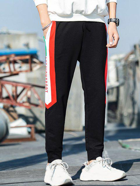 women's Colorblock Panel Letter Print Jogger Pants - BLACK S Mobile