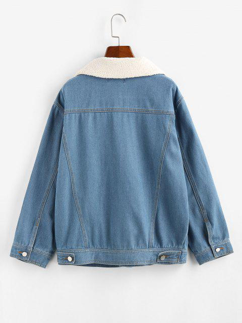 ZAFUL Teddy Collar Drop Shoulder Denim Jacket - الضوء الأزرق XL Mobile
