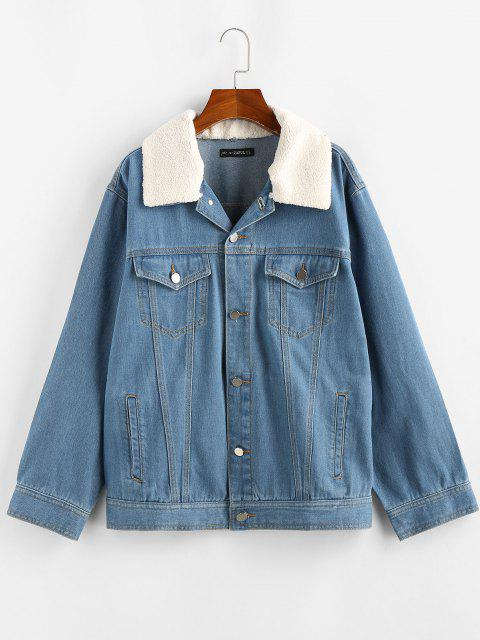 chic ZAFUL Teddy Collar Drop Shoulder Denim Jacket - LIGHT BLUE L Mobile