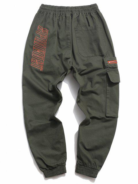 trendy Letter Print Drawstring Multi Pockets Casual Pants - ARMY GREEN M Mobile