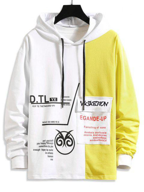 fancy Two Tone Letter Pattern Flap Pocket Hoodie - YELLOW M Mobile