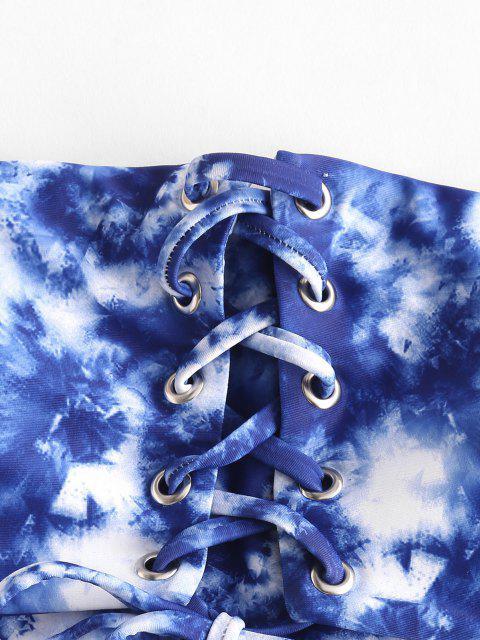 outfits ZAFUL Tie Dye Grommet Lace Up Bandeau Bikini Swimsuit - BLUE S Mobile