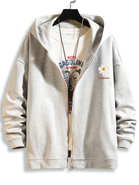 fashion Daisy Letter Print Zip Up Hoodie Jacket - PLATINUM L Mobile