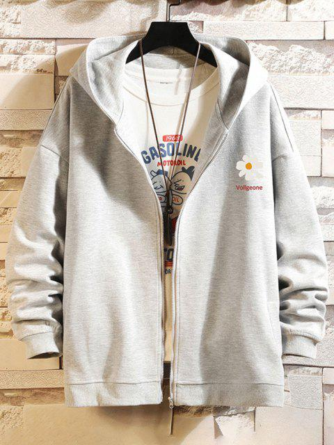 affordable Daisy Letter Print Zip Up Hoodie Jacket - PLATINUM 4XL Mobile