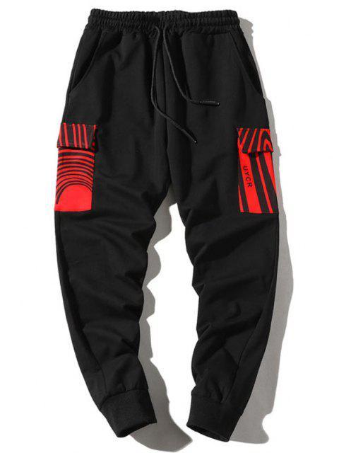 Jogger Pantalones de Cargo con Estampado de Letras - Negro S Mobile