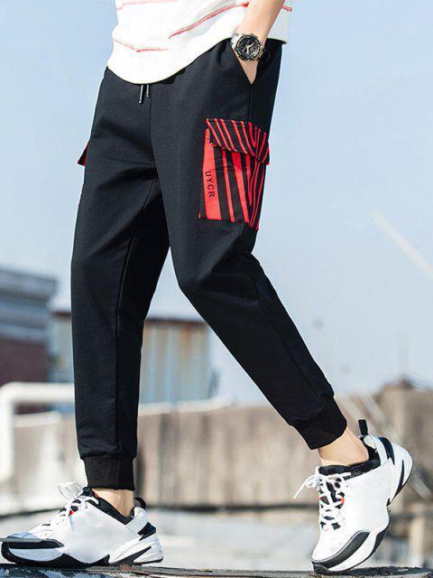Gestreifte Taschentaschen Hose mit Buchstabendruck - Schwarz XS Mobile