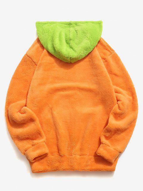ZAFUL Fluffy Sudadera con Capucha de Bolsillo de Canguro - Naranja Oscuro S Mobile