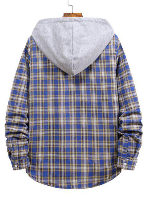 Plaid Pattern Bloco de Cores com Capuz de Padrão Xadrez - Koi Azul L Mobile