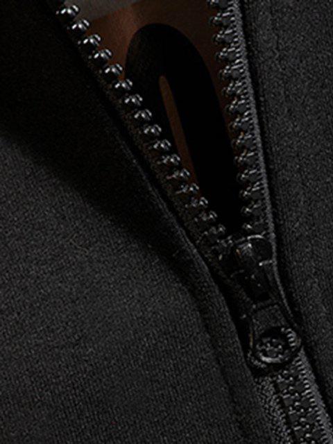 Veste à Capuche ZippéeRequin Dessin Animé Imprimé - Noir 2XL Mobile