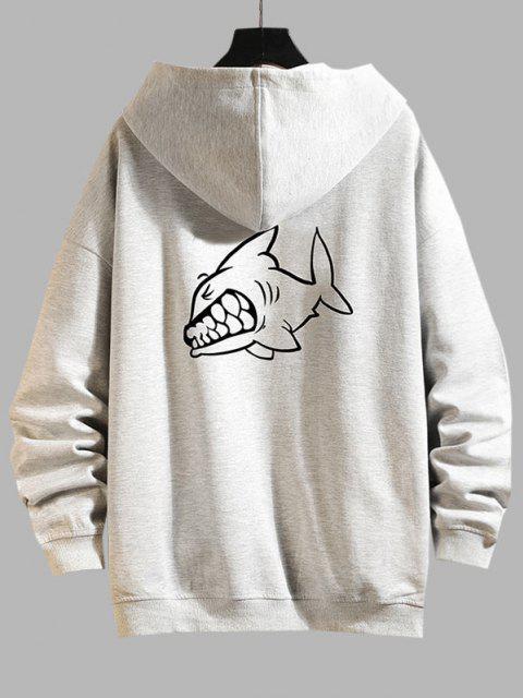 sale Cartoon Shark Print Zip Up Hoodie Jacket - PLATINUM 2XL Mobile