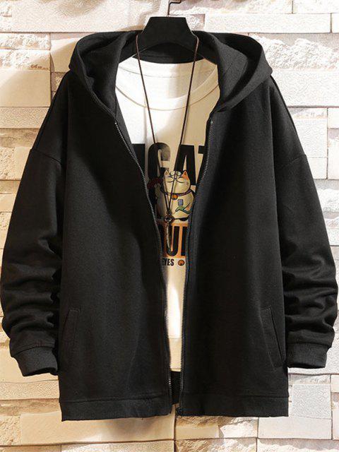 new Cartoon Shark Print Zip Up Hoodie Jacket - BLACK L Mobile