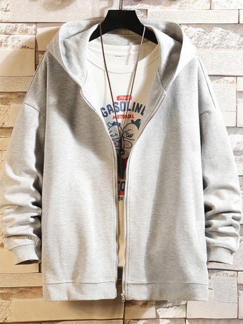 shop Cartoon Shark Print Zip Up Hoodie Jacket - PLATINUM XL Mobile