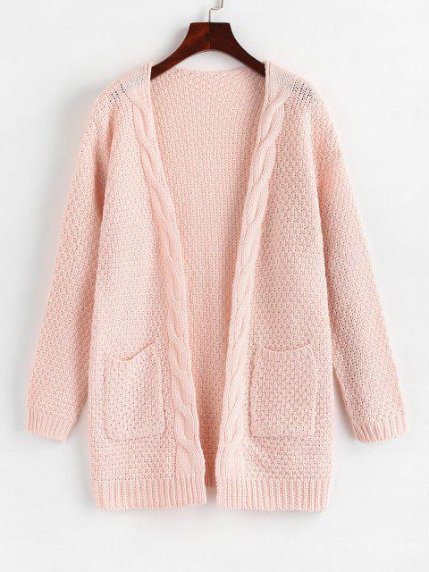 women Open Front Cable Knit Chunky Cardigan - LIGHT PINK M Mobile