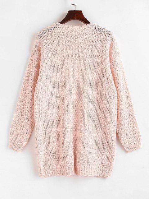 online Open Front Cable Knit Chunky Cardigan - LIGHT PINK XL Mobile