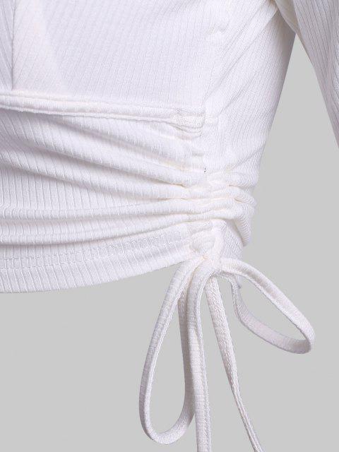 Top Barriga de Fora com Nervuras Amarrado Cortado - Branco L Mobile