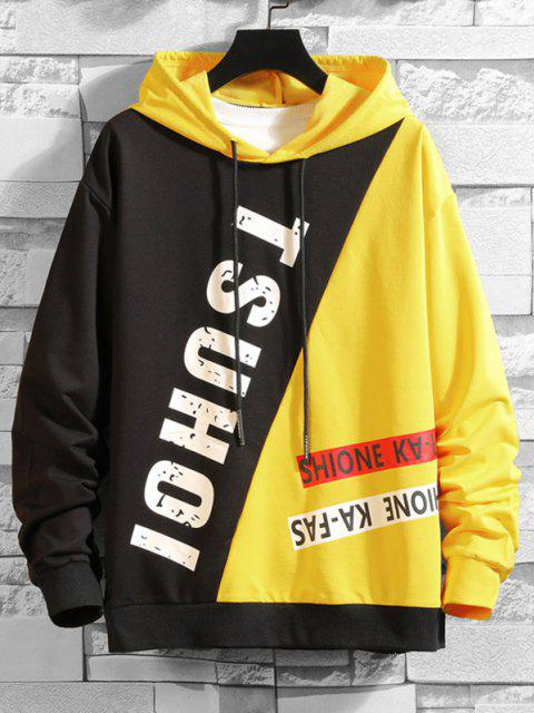 chic Color Blocking Panel Letter Hoodie - BLACK 2XL Mobile