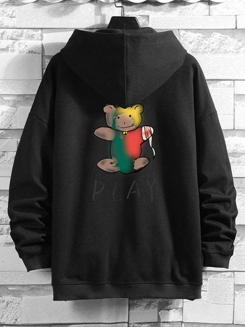 new Cartoon Bear Print Zip Up Hoodie Jacket - BLACK L Mobile