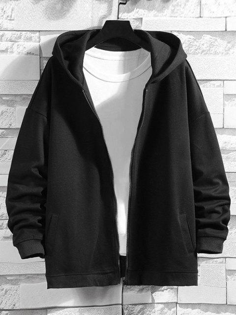 online Cartoon Bear Print Zip Up Hoodie Jacket - BLACK M Mobile