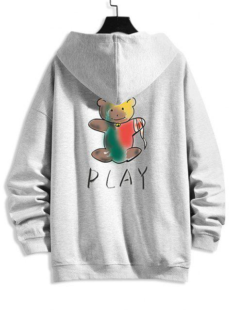 Cartoon Bären Druck Reißverschluss Hoodie Jacke - Platin XL Mobile