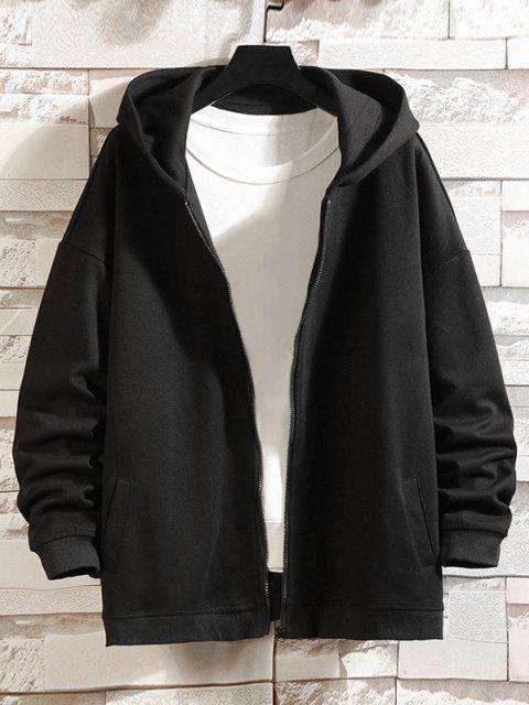 shop Zip Up Cartoon Cat Print Hoodie Jacket - BLACK 2XL Mobile