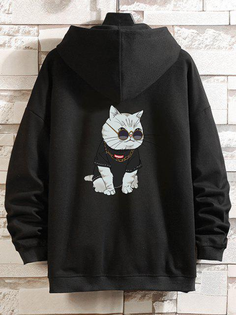 trendy Zip Up Cartoon Cat Print Hoodie Jacket - BLACK M Mobile