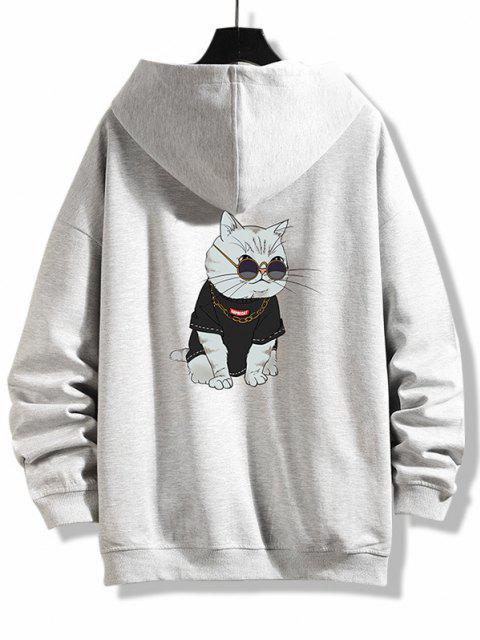 trendy Zip Up Cartoon Cat Print Hoodie Jacket - PLATINUM 3XL Mobile
