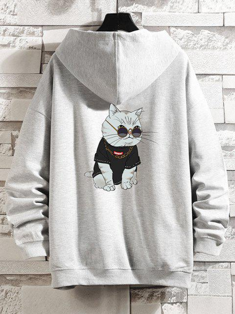 Reißverschluss Cartoon Katzen Druck Hoodie Jacke - Platin 3XL Mobile