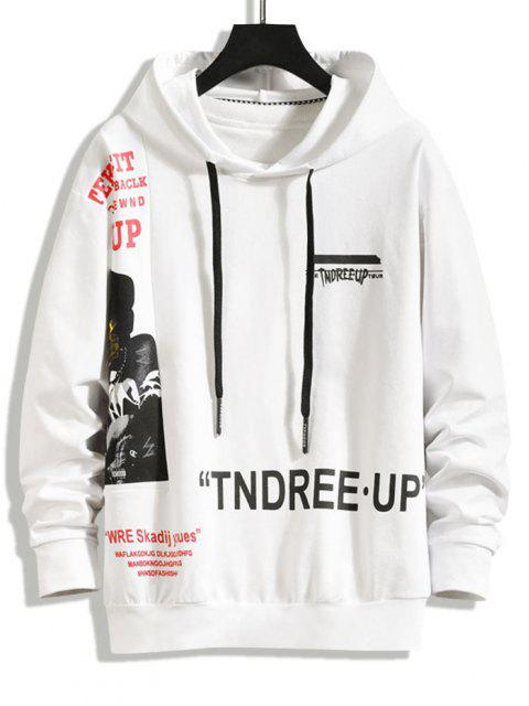 online Letter Figure Graphic Spliced Hoodie - WHITE XS Mobile