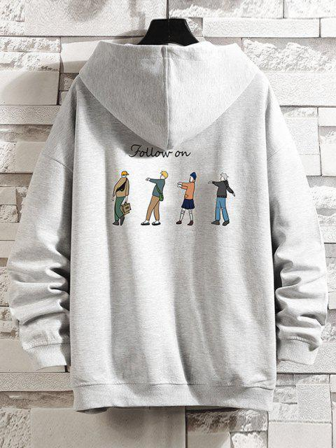 womens Cartoon Queue Print Zip Up Hoodie Jacket - PLATINUM 3XL Mobile