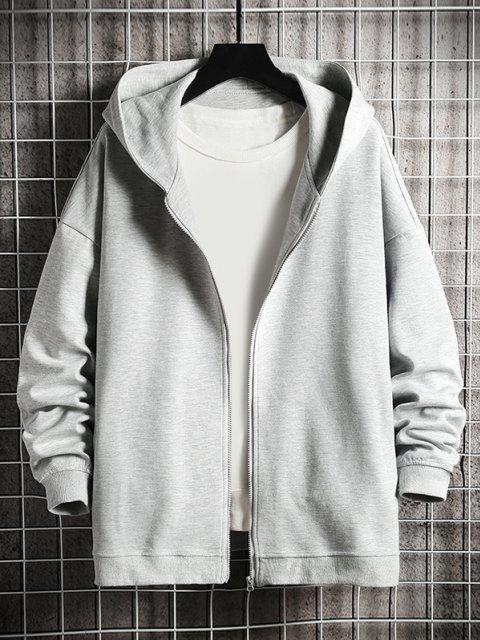 online Hanzi Graphic Print Zip Up Hoodie Jacket - PLATINUM M Mobile