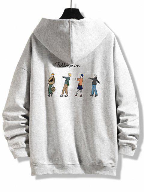 new Cartoon Queue Print Zip Up Hoodie Jacket - PLATINUM L Mobile