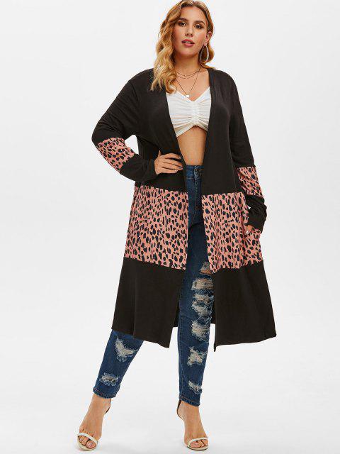 latest Leopard Patchwork Open Front Plus Size Cardigan - BLACK L Mobile